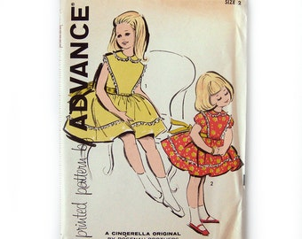 1960s Girls Dress Pattern Full Skirt Dress Puff Sleeves Lace Trim / Advance 9871 / UNCUT FF Size 2
