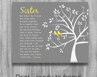 SISTER GIFT My Sister My Friend Personalized Sister Gift Tree Birds Wedding Birthday Gift Maid of Honor Sister Poem Yellow Gray Canvas Print