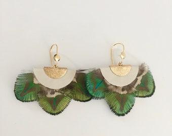 White Peacock earrings