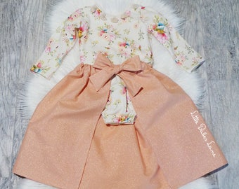 Bohemian Floral Romper / Cape Skirt / First Birthday / Rose Gold