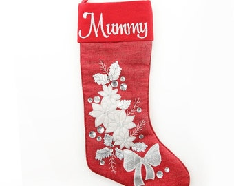 Personalised Red Poinsettia Christmas Stocking