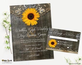 Sunflower Wedding Invitation Set Rustic Sunflower Country Wedding Invites Wood Grain Background Rustic Wedding Rustic Chic Printable Invite
