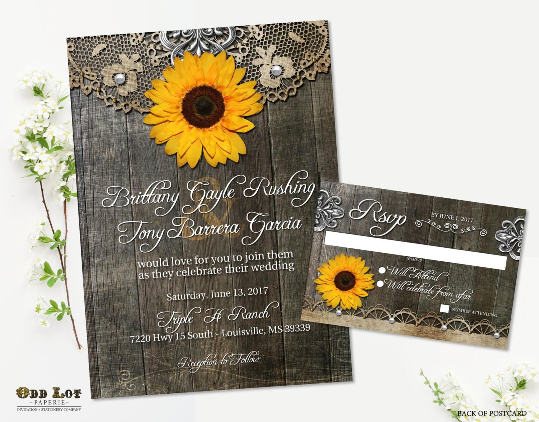 sunflower wedding invitation set rustic sunflower country