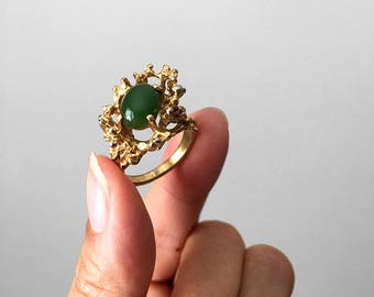 Vintage, 1960's, Gold-Toned, Green, Jade Stone, Branch, Twig, Ring