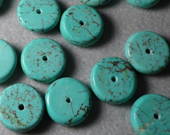 Turquoise Howlite Heishi Disc  Beads 12mm to 14mm