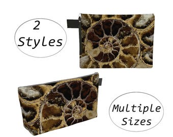 Brown Nature Pouch Carry All, Zippered Clutch, Big Large, For Makeup Cosmetics Toiletry Laptops Tablet, Diapers Travel Carryall,  Ammonite