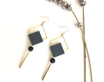 Minimal Earrings Hand Painted Wood with Brass Details
