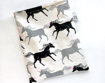 Unicorn book sleeve - cute book sleeve - travel book sleeve - book accessory - book protector - book case