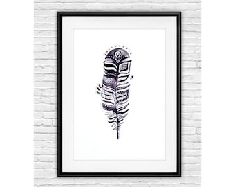 Black White Print, Feather art, Black and White Feather Art Print, Feather Illustration, Wall Decor, Home Decor, Housewarming Gift, Ink Art