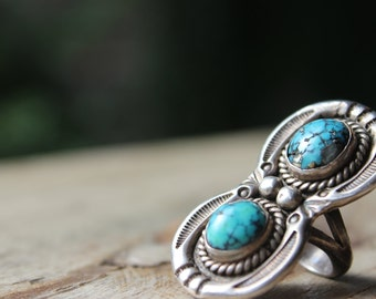 Vintage J.F. Signed Sterling and Turquoise Navajo Ring Two Stones Cabachon Plain Bezel Set