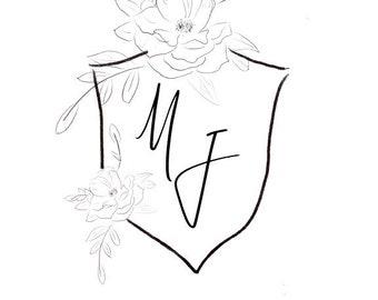 Custom Wedding Crest, Sketched Floral Wedding Crest, Botanical Sketch