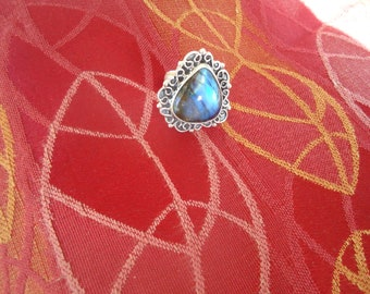 Sterling Silver, Blue Flash Labradorite Ring
