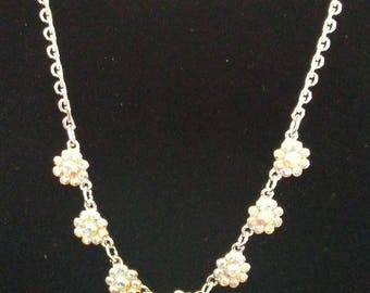 Delicate Crystal Flower Necklace and Earrings