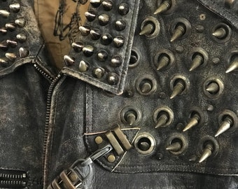 INDUSTRIAL UNREST Leather Spiked Studded and Distressed Jacket Cut Vest