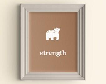 Woodland nursery art, Woodland bear nursery decor, Bear nursery art, Baby shower gift, Inspirational kid wall art, Inspirational baby prints