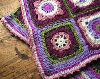 Crocheted baby blanket Purple nursery decor Gift for baby girl Crib Cover Handmade gift Colorful baby blanket Baby girl afghan Boho Nursery