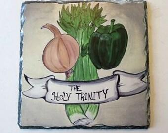Original Artwork - Holy Trinity on Slate - Cajun Cooking - Slate Artwork - Artwork Gift - Slate Gift - New Orleans Art - New Orleans Gift