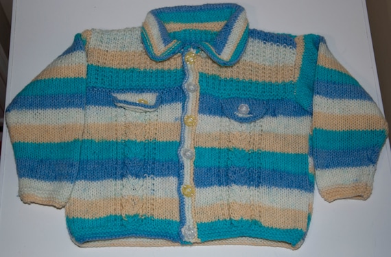 Handknitted Boys Cardigan in Cabled Design to fit 4-5 Year Old.