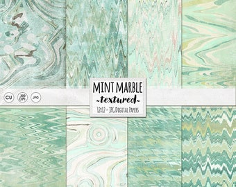 Mint Green Marble Digital Paper, Lightly Textured, Shabby Turquoise & Aqua Marbled Backgrounds, Instant Download Pattern Paper