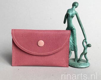 Card holder/ card case in fuchsia and pink lizard embossed leather. Leather wallet with two compartments. Gift under 20
