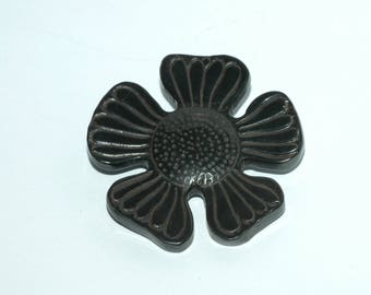 "Black Horn Flower Button. Size 1 3/4"" (44mm)"