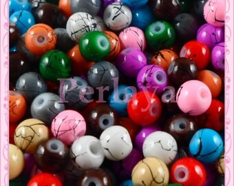 Mix of 200 glass beads 6mm filament REF2251 effect