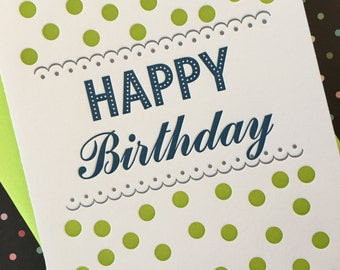 Green Dot Birthday Letterpress Card