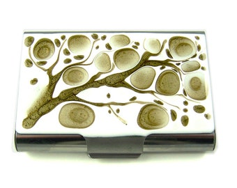 Large Business Card Case Hand Painted Enamel Taupe and White Blossoms Inspired Personalized and Color Options