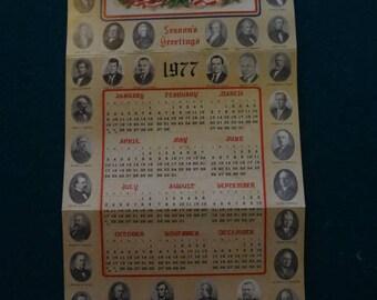 Vintage 1977 fold up Presidential Seasons greetings calendar