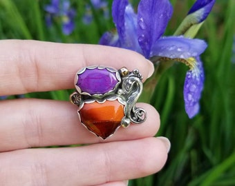 Koi Fish Accented Rosarita Heart Ring Mermaid Sterling Silver Size 8 purple Mohave Turquoise