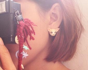 Chihuahua Earrings Creamy