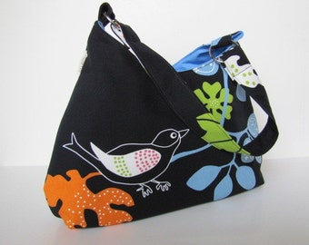 Modern Hobo in Black Bird by MaddieKay Handbags- Ready To Ship