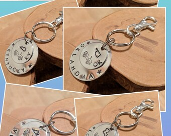 United States of Jeeps silver aluminum keychain hand stamped and polished all 50 states available