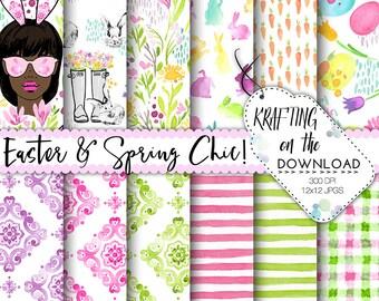 watercolor easter digital paper watercolor easter paper pack watercolor spring floral papers watercolor spring flowers african american