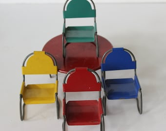 Mid Century Modern Metal Patio Table and Chairs Furniture Danish Modern Table Chairs Outdoor Doll House Furniture
