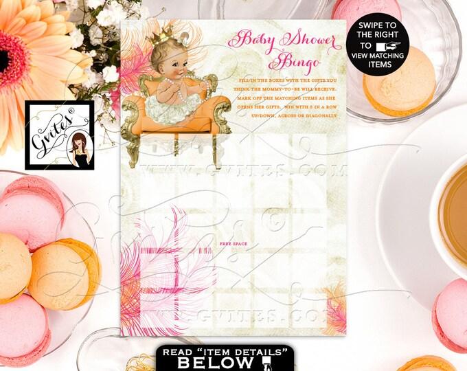 "Orange and Pink Bingo Cards, Shower Game Pink Gold Printable Princess Baby Vintage Gold Crown Ribbons Bows Diamonds Pearls 5x7""/2 Per Sheet"