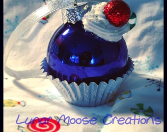 Mini Cupcake Ornament- Blue