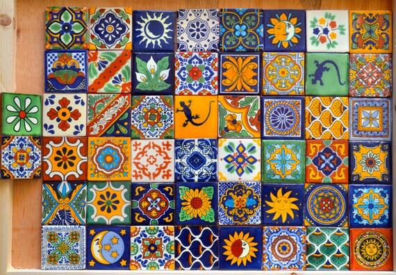50 Mexican Talavera Tiles Handmade Hand Painted 2 X
