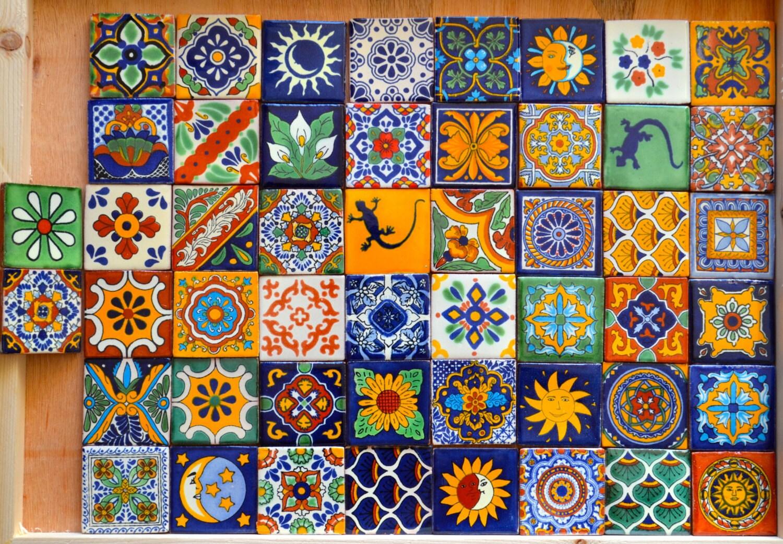 50 mexican talavera tiles handmade hand painted 2 x - Azulejos reina ...
