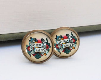 Tattoo Good Luck Horse Shoe Cufflinks Cuff Links Vintage Style Bronze Wedding Groom Groomsmen Retro