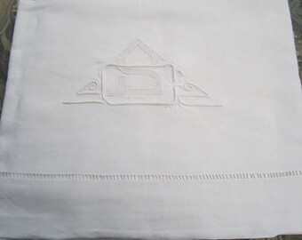 Antique French hand embroidered sheet, gothic monogrammed S, French dowry sheet, wedding sheet; 6,72 feet wide (6)