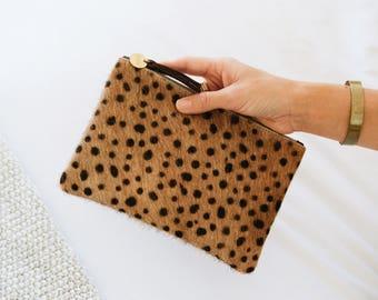 Cowhide Pouch | Cheetah Print | Hair on Hide | Leather zipper pouch | Purse | Clutch | Bag | Wallet | Going out bag