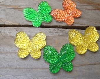 Set of butterflies multicolor craft 3 cm * 2.5 cm