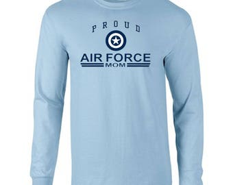 Proud Air Force Mom USAF United States Military Armed Forces Grandma Long Sleeve Tee Shirt