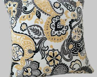 Paisley Farmhouse Pillow Mustard Yellow Gray Throw Pillow Cushion Cover French Country Cottage Decor Zippered Pillow, Lumbar Euro Sham