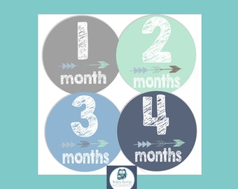 Printable Month Stickers Boy, Monthly Baby Stickers, Tribal Baby Stickers, Baby Monthly Milestone, DIY, Arrows, Digital, Navy, Blue, Green