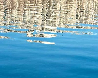 Blue Water Reflection, White ripples, abstract, photograph