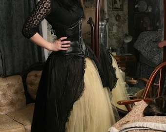 Ball gown Victorian goth Beauty prom skirt gold glimmer black dance steampunk noir fantasy wedding fairytale -All sizes- Sisters of the moon