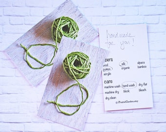 knitting gift card, set, gift card, gift tags, knitting gift tags, Hand Made for you, crochet gift tags, fiber care tags green