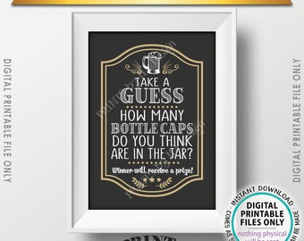 """Guessing Game, Guess the Number of Bottle Caps, Guess How Many & Win a Prize Beer Guessing Game, Birthday Game, PRINTABLE 5x7"""" Sign <ID>"""